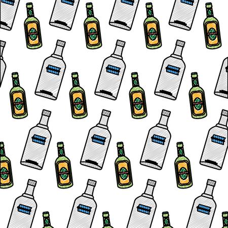 doodle vodka and schnapps liquor bottle background Illustration