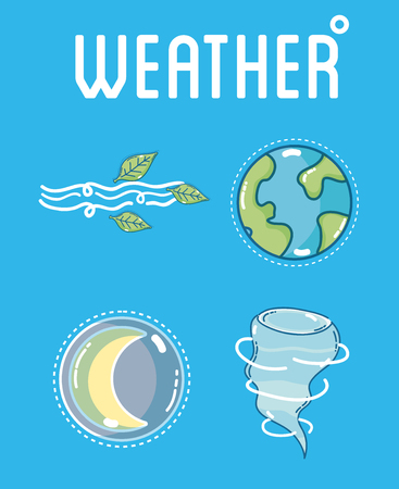 Weather and forecast template with elements vector illustration graphic design