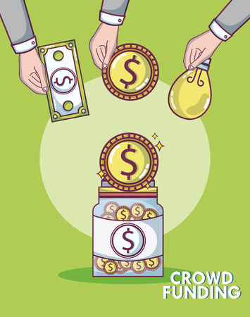 Crowdfunding donations and investment concept vector illustration graphic design