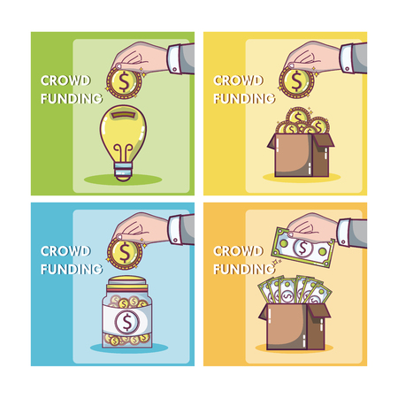 Crowfunding and business square frames vector illustration graphic design Illustration