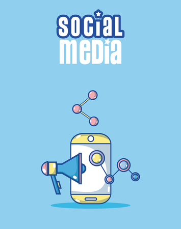 Smartphone and social media cartoons concept vector illustration graphic design