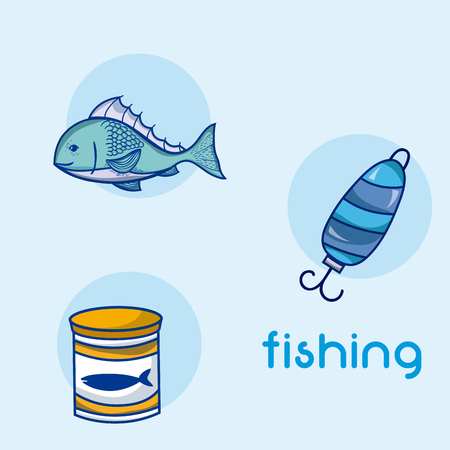 Fishing water sport elements vector illustration graphic design Illusztráció