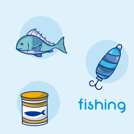 Fishing water sport elements vector illustration graphic design Illustration