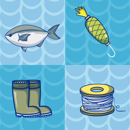 Set of fishing sport cartoons vector illustration graphic design
