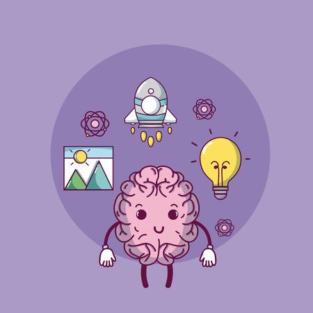 Cute brain cartoon with creative ideas vector illustration graphic design