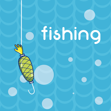 Fishing hook in the sea sport vector illustration graphic design