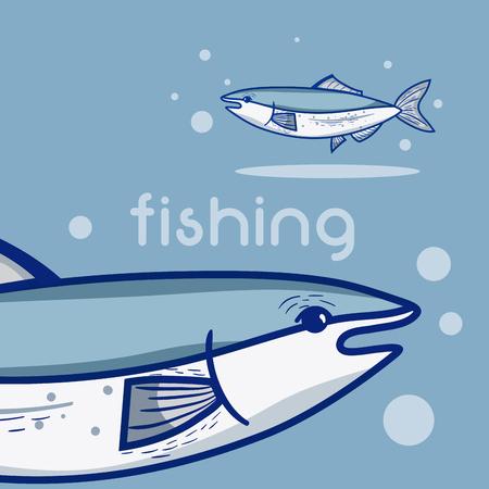 Fish in the water cartoon vector illustration graphic design Illustration