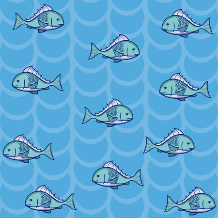 Fish cartoons pattern blue background vector illustration graphic design