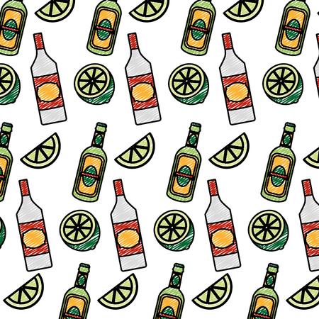 doodle schnapps bottles beverages and lemon background vector illustration