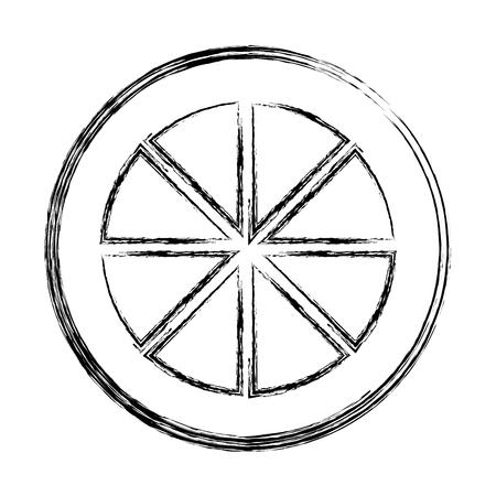 grunge slice lemon delicious organic fruit vector illustration Vettoriali