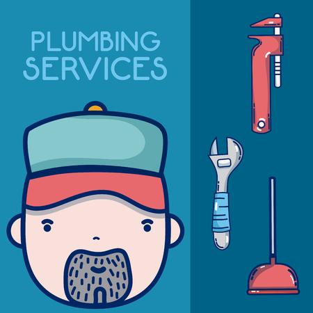 Plumbing service concept plumber face vector illustration graphic design Illustration