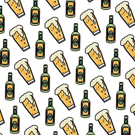 doodle schnapps liquor bottle and beer glass background vector illustration
