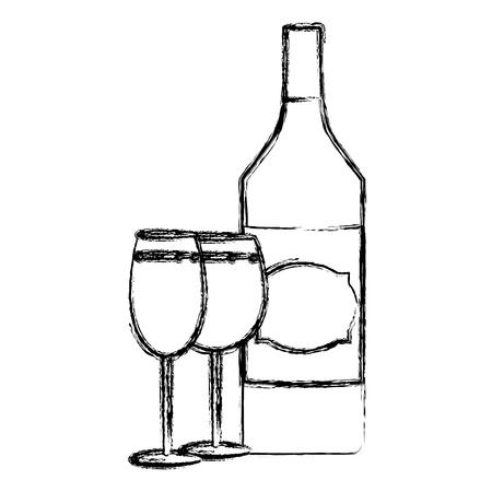Botella de licor de aguardiente de grunge con champán y copa de brandy ilustración vectorial