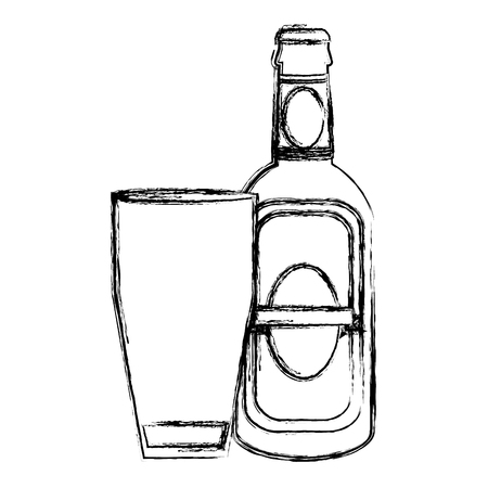 grunge schnapps liquor bottle beverage with glass vector illustration