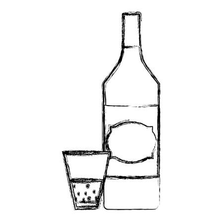 grunge schnapps liquor bottle and glass beverage vector illustration