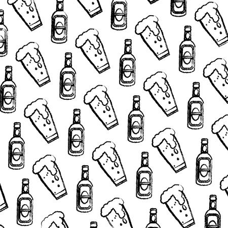 grunge schnapps liquor bottle and beer glass background vector illustration