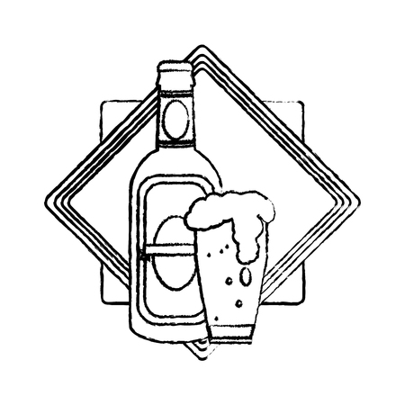 grunge schnapps bottle and beer glass emblem vector illustration