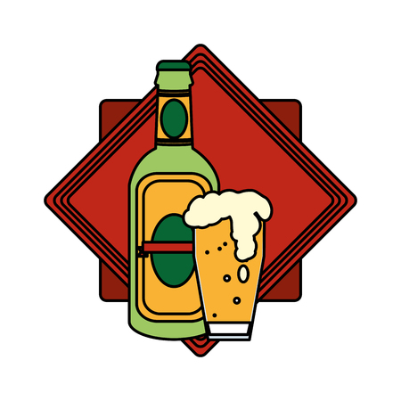 color schnapps bottle and beer glass emblem vector illustration