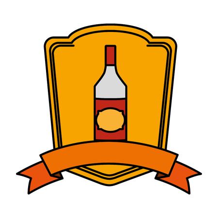 color schnapps liquor bottle beverage emblem vector illustration Illustration