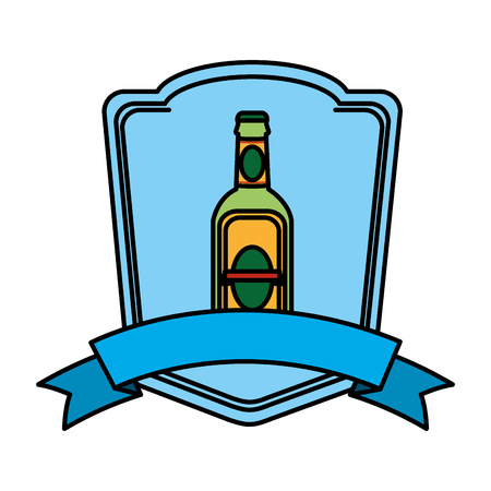 color schnapps liquor bottle emblem with ribbon vector illustration