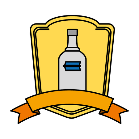 color liquor vodka bottle beverage emblem vector illustration