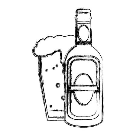 grunge liquor schnapps bottle and beer glass vector illustration