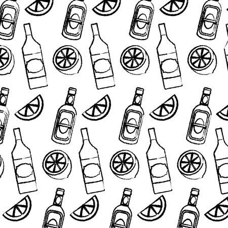 grunge schnapps bottles beverages and lemon background vector illustration
