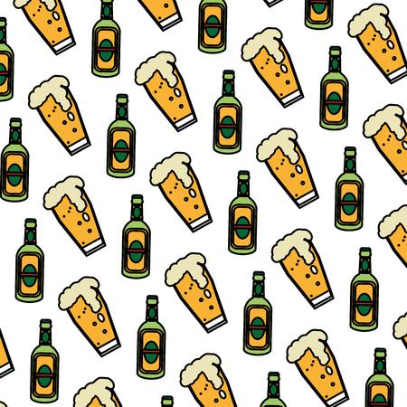 color schnapps liquor bottle and beer glass background vector illustration Illustration