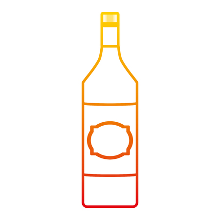 degraded line schnapps alcohol bottle liquor beverage vector illustration Standard-Bild - 102599674