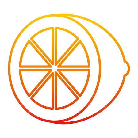 degraded line delicious slice lemon organic fruit vector illustration Illustration