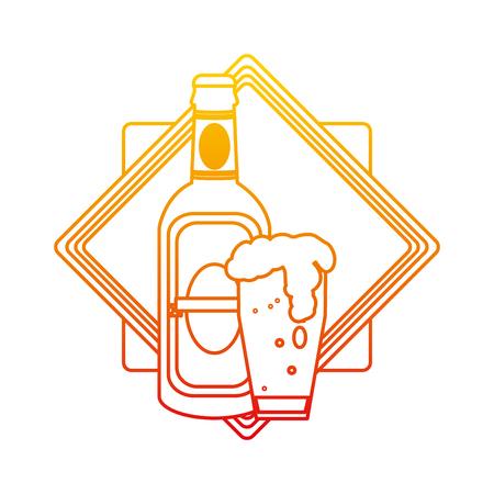 degraded line schnapps bottle and beer glass emblem vector illustration
