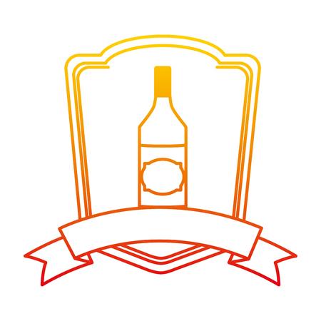 degraded line schnapps liquor bottle beverage emblem vector illustration