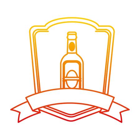 degraded line schnapps liquor bottle emblem with ribbon vector illustration
