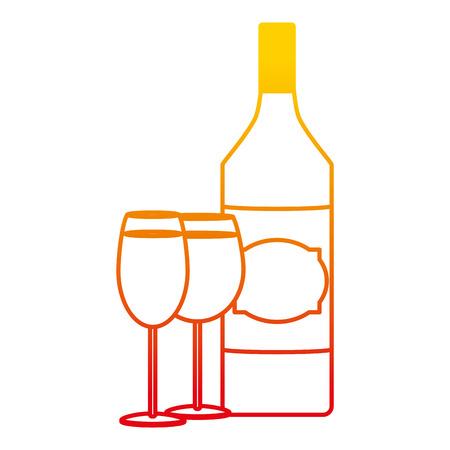 degraded line schnapps liquor bottle with champagne and brandy glass vector illustration Standard-Bild - 102599619