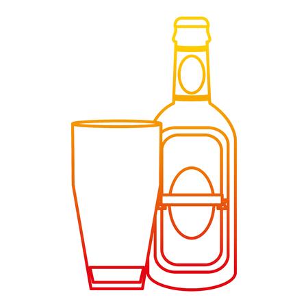 Bebida de botella de licor de aguardiente de línea degradada con ilustración de vector de vidrio