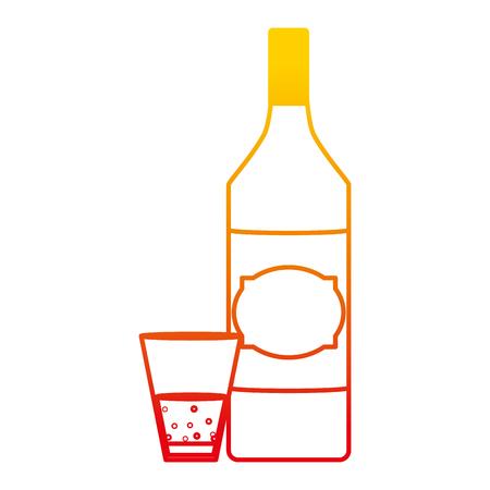 Botella de licor de aguardiente de línea degradada y bebida de vidrio ilustración vectorial