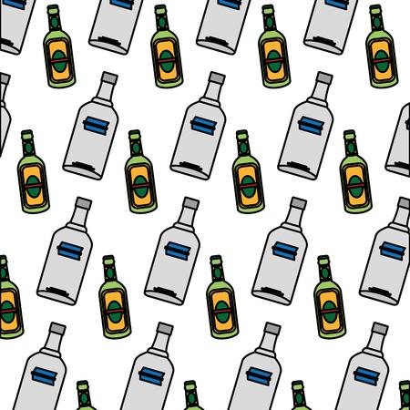 color vodka and schnapps liquor bottle background vector illustration