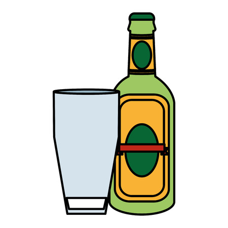 color schnapps liquor bottle beverage with glass vector illustration Vectores