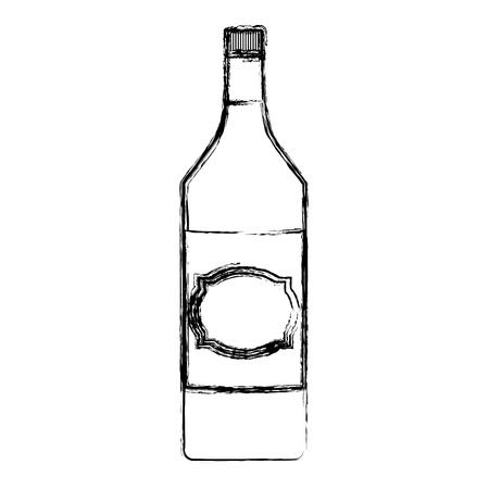 grunge schnapps alcohol bottle liquor beverage vector illustration