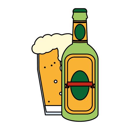 Botella de licor de licor de color y vaso de cerveza ilustración vectorial
