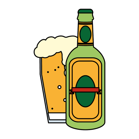 color liquor schnapps bottle and beer glass vector illustration