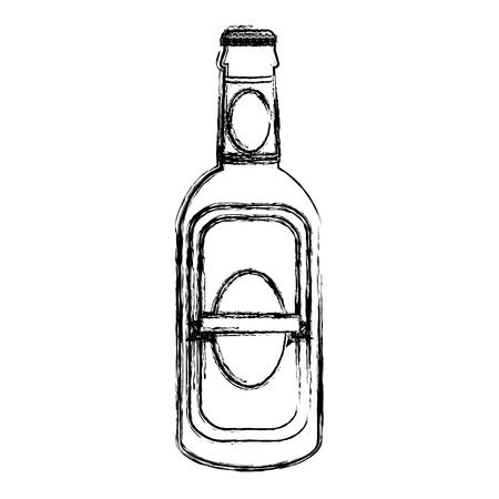 grunge schnapps liquor alcohol bottle beverage vector illustration