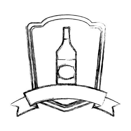 grunge schnapps liquor bottle beverage emblem vector illustration