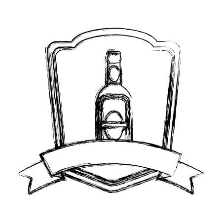 grunge schnapps liquor bottle emblem with ribbon vector illustration