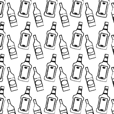 grunge tequila and schnapps liquor bottle background vector illustration