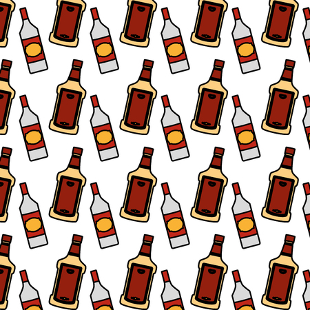 color tequila and schnapps liquor bottle background vector illustration