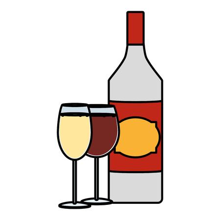 color schnapps liquor bottle with champagne and brandy glass vector illustration