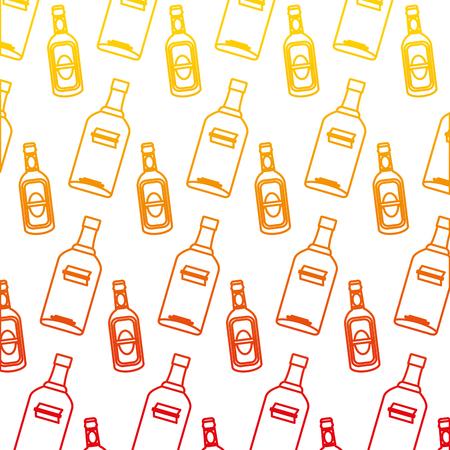 degraded line vodka and schnapps liquor bottle background vector illustration