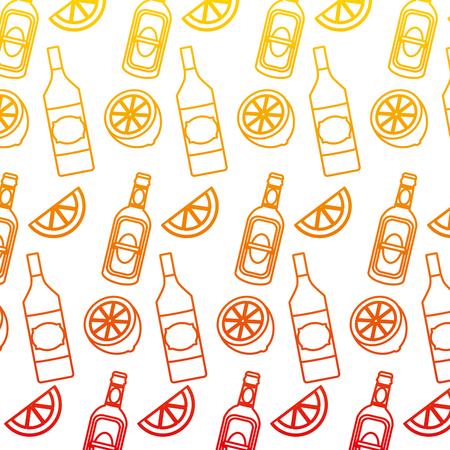 degraded line schnapps bottles beverages and lemon background vector illustration Illustration