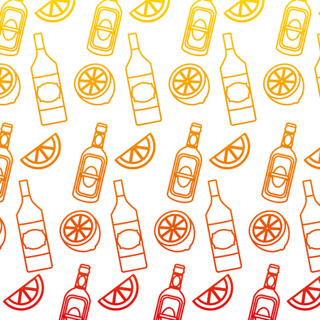 degraded line schnapps bottles beverages and lemon background vector illustration Illustration